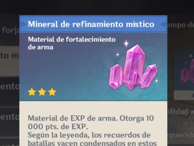 Minerales de Refinamiento en Genshin Impact