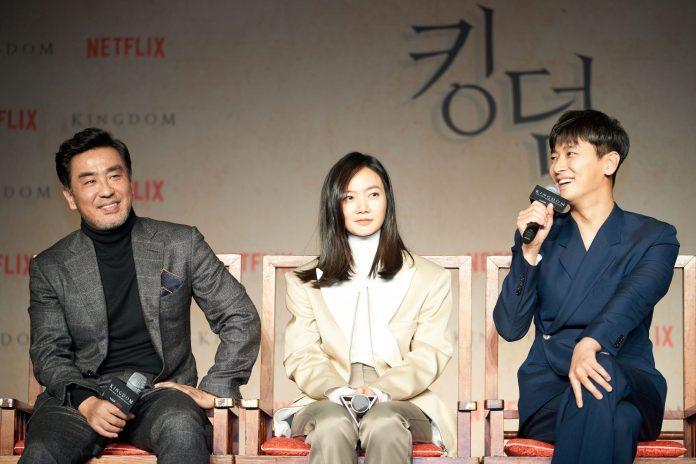 SEOUL, SOUTH KOREA - JANUARY 21: Ryu Seung-yong, Bae Doona, Ju Ji-hoon attend the Netflix 'Kingdom' press conference on January 21, 2019 in Seoul, South Korea. (Photo by Handout/Netflix via Getty Images)