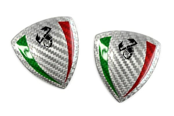 White Carbon fiber Fender shield emblem w Italian Scorpion