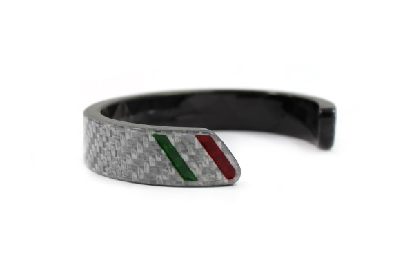 White Carbon fiber bracelet with Graven Italian stripe
