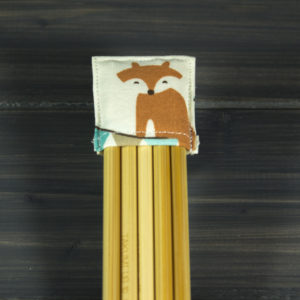 Double pointed Knitting Needle Holder, Green with White Dots and a Fox