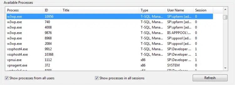 Visual Studio's Attach to Process -dialog