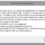 "Fixing error ""Cannot open server – – requested by the login. Client with IP address – – is not allowed to access the server."" in Azure deployments from Visual Studio"