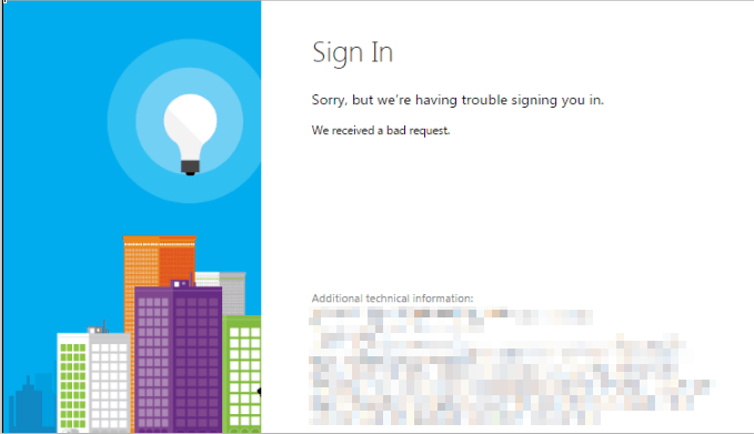 Azure AD Login error