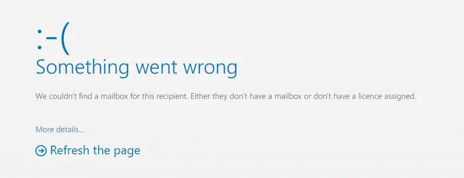Outlook OWA error for missing EXO license