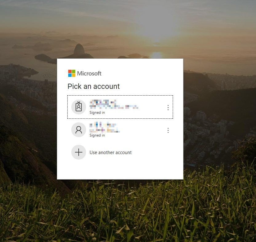 Azure AD account selection