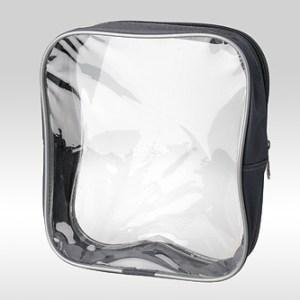 Серая прозрачная косметичка-сумка из ПВХ с кедером (металлик)