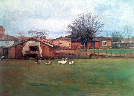 χωριάτικα σπίτια με πάπιες. Πίνακας του Δημήτρη Γιολδάση, 1970