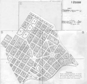 """Το σχέδιο της Ν. Ερυθραίας όπως εγκρίθηκε το 1941 (πηγή: Αικατερίνη-Νίκη Γληνού, """"Νέα Ερυθραία. Μεταλλαγές ενός προσφυγικού συνοικισμού στα βόρεια προάστια της Αθήνας"""", Μεταπτυχιακή διπλωματική εργασία, 2006"""