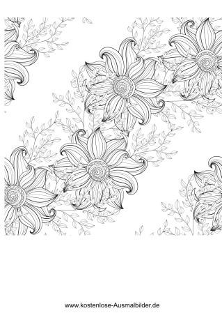Blumen Diagonal Erwachsene Ausmalen Malvorlagen Vorlagen