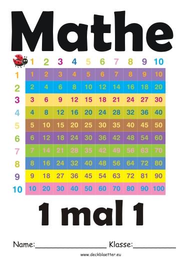 Bunte Deckbltter Deckblatt Mathe Schule Ordner Mathematik