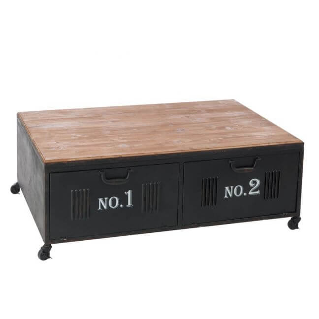 Table Basse Avec Casiers En Mtal De Style Industriel