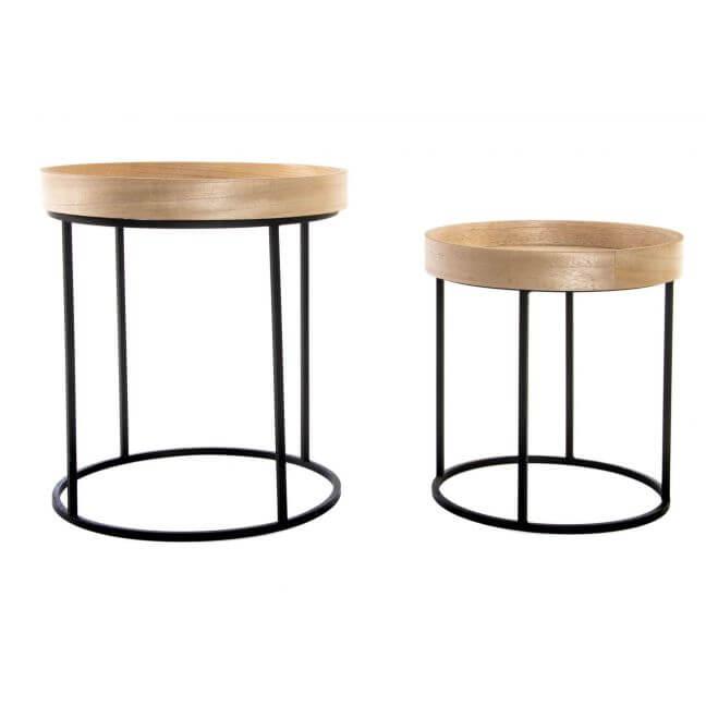 set de 2 tables gigognes plateau en bois pieds metal kotecaz fr