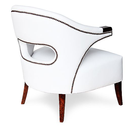 White faux leather art deco chair