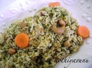 Spinach Rice Recipe | Spinach Pulao Recipe | Palak Pulao Recipe – Microwave Version