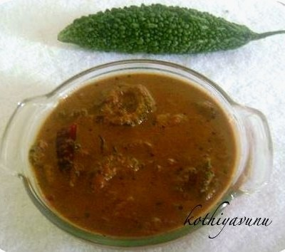 Pavakka/Kaypakka Theeyal /Bitter Gourd cooked in Roasted Coconut Gravy