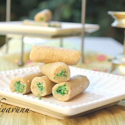 Kaju Pista Roll – Cashewnut Roll Stuffed with Pistachio Powder & Happy Diwali
