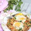Sali Par Eedu Recipe – Eggs on Potato Straws