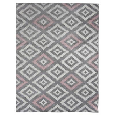 tapis de salon scandinave tavla rose pastel gris et blanc 50 x 80 cm