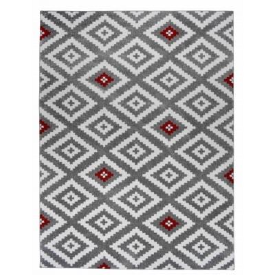 tapis de salon scandinave tavla rouge gris et blanc 50 x 80 cm