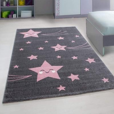 stella tapis chambre enfant 160 x 230 cm rose et gris