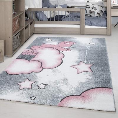 nuage tapis chambre enfant 160 x 230 cm rose et pastel