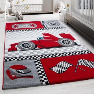 voiture tapis chambre enfant 160 x 230 cm rouge