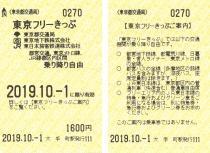 写真:東京フリーきっぷ券面