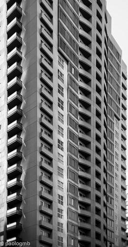 black and white skyscraper windows photo