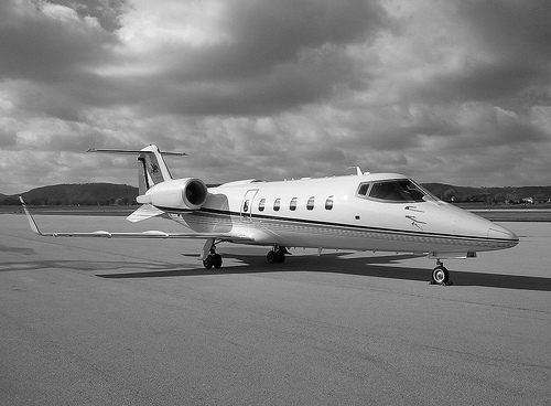learjet black and white photo