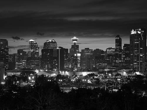 black and white cityscape night photo