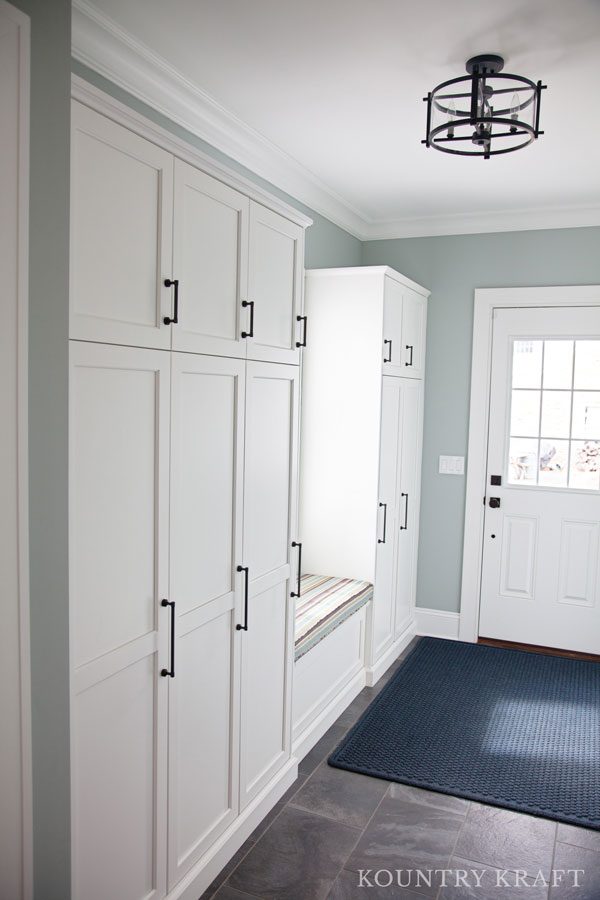 White Entryway Cabinets With Window Seat In Madison New