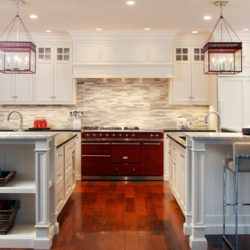 Hard Maple Wood White Kitchen Cabinets And Two Islands With Sinks New Canaan Ct