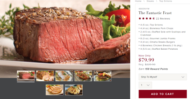 click here to get started with omaha steaks no membershipmonthly fee and you will get a coupon good for 20 off your purchase of 50 or more