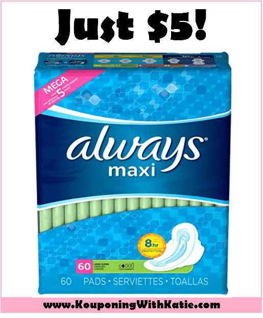 GREAT $5 Always Maxi Pad 60ct Stock Up Deal!!! - Kouponing