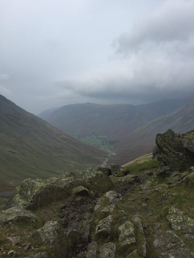 Looking down from Styhead Pass (#1) to Wasdale.