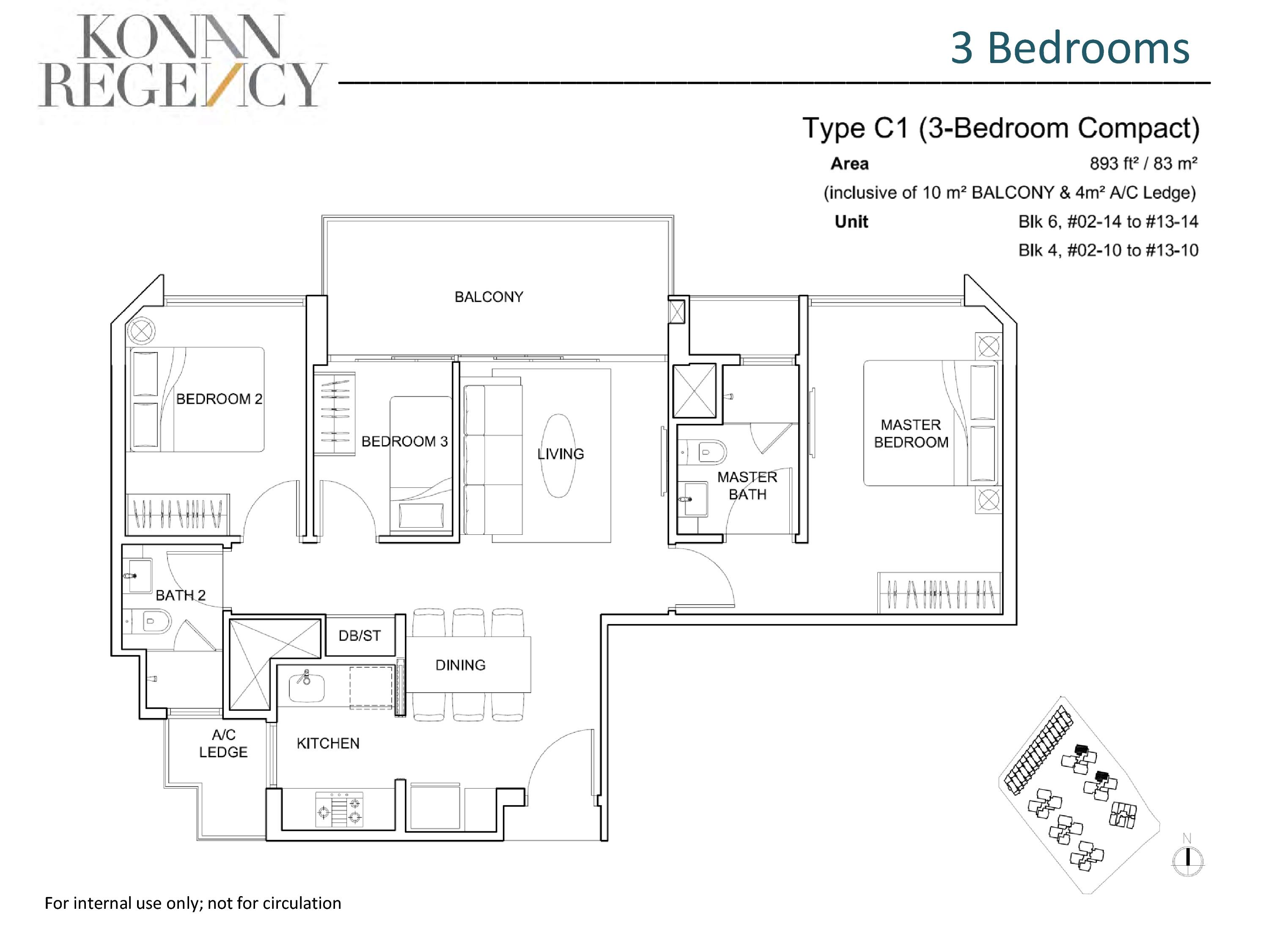 Kovan Regency 3 Bedroom Compact Floor Plans Type C1
