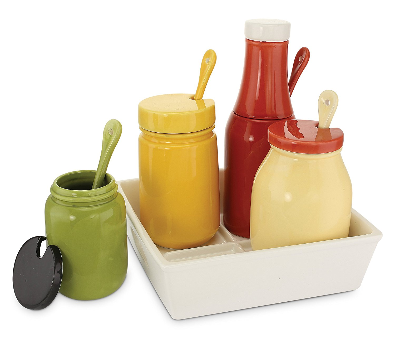 Ceramic BBQ Condiment Set And Tray KOVOT