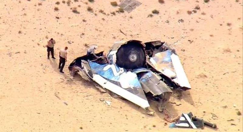 Uzay turizmi alanında çalışmalar yapan Virgin Galactic şirketine ait 2014 yılında düşen uzay aracının enkazı. Bu kazada pilot hayatını kaybetmişti.