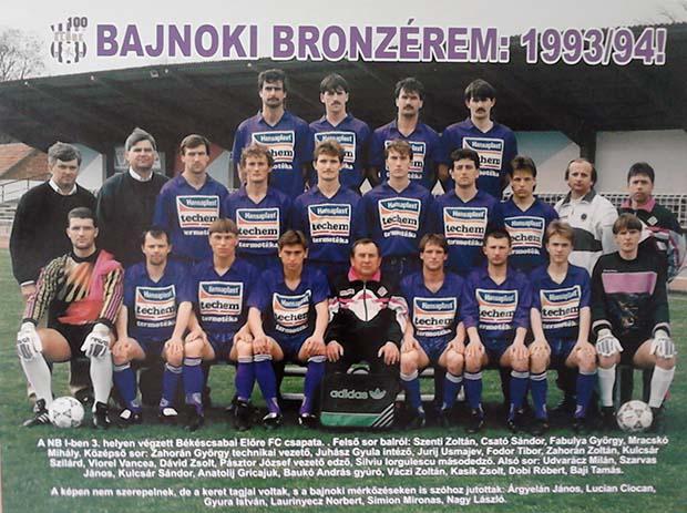 A Békéscsaba 1994-es bajnoki bronzérmes együttese