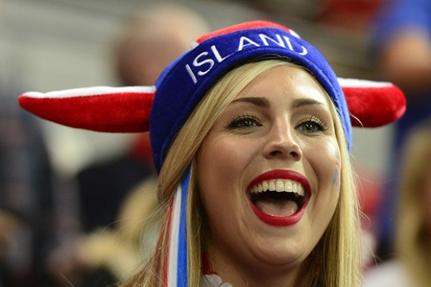 A fan of Iceland's handball team wearing a hat reacts ahead of the men's preliminary Group A handball match Iceland vs France for the London 2012 Olympics Games on August 4, 2012 at the Copper Box hall in London. Iceland won 30-29.     AFP PHOTO/ JAVIER SORIANO        (Photo credit should read JAVIER SORIANO/AFP/GettyImages)