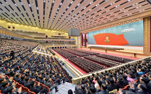 epa04622267 A picture released by the North Korean Central News Agency (KCNA) shows North Korean officials holding a massive meeting to celebrate the birthday of the late leader Kim Jong-il, in Pyongyang, North Korea, 15 February 2015.  EPA/KCNA SOUTH KOREA OUT  NO SALES