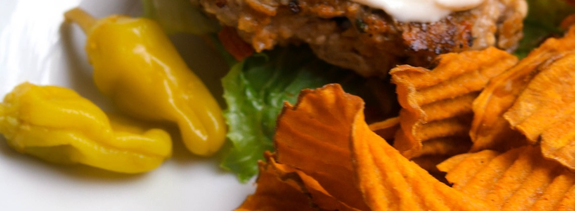 Greek-style chicken burgers with Pepperoncini Aioli