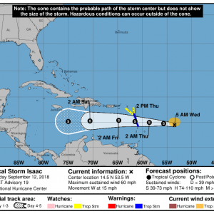 083448 5day cone no line and wind 300x300 1 - Boletín Tormenta Tropical Isaac, martes 11 de septiembre de 2018, 5:00pm