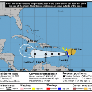 090133 5day cone no line and wind 300x300 1 - Boletín Tormenta Tropical Isaac, martes 11 de septiembre de 2018, 5:00pm