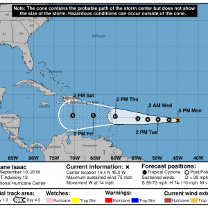 203340 5day cone no line and wind 300x300 1 - Boletín Tormenta Tropical Isaac, martes 11 de septiembre de 2018, 5:00pm