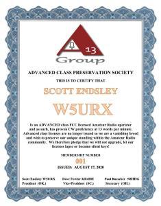 W5Cert.jpeg - FCC invita a la ARRL a hacer comentarios sobre la propuesta de mejorar los privilegios de la licencia Technician