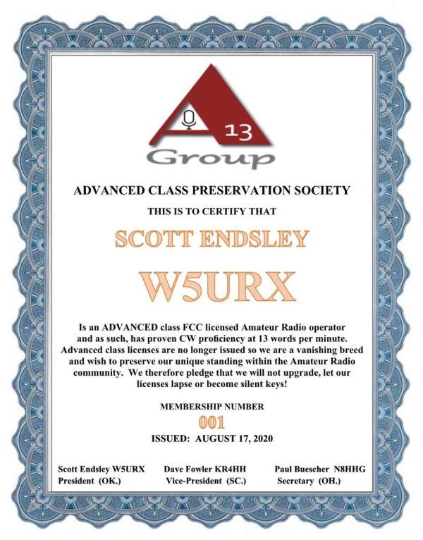 W5Cert.jpeg - De N8HHG - Para todos los compañeros operadores de clase Advanced - Una invitación importante