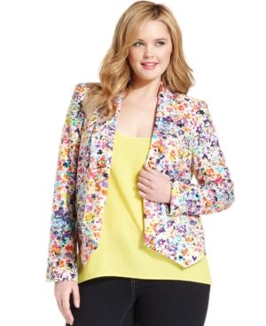 Jessica Simpson Plus Size Jacket, Dalton Floral-Print Draped Blazer, $79