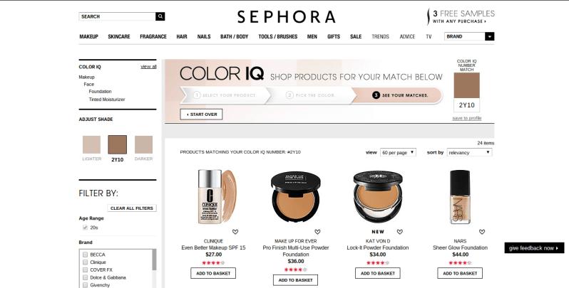Sephora Color IQ Matches